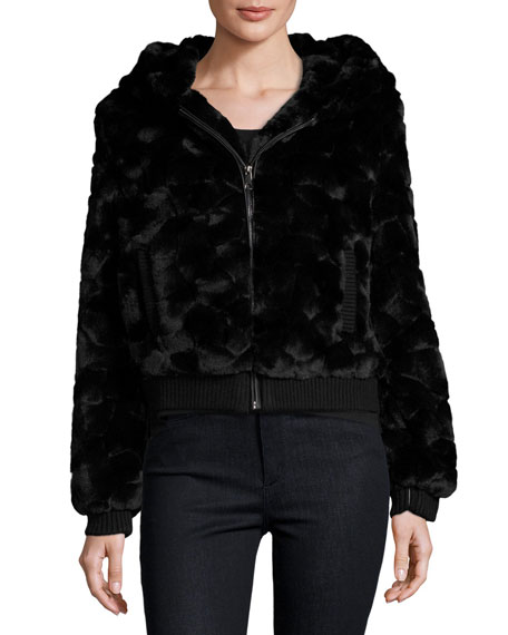 Cusp by Neiman Marcus Faux-Fur Hooded Zip-Front Bomber Jacket, Black