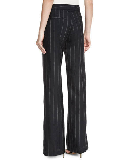 Pinstripe Wide-Leg Sailor Pants, Black/White