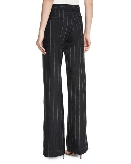 Pinstripe Wide-Leg Sailor Pants, Black/White