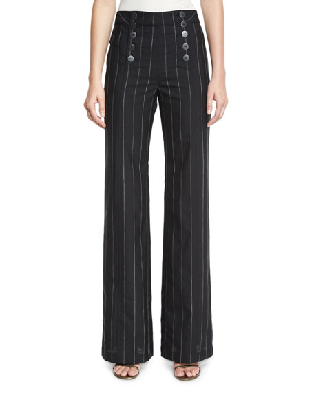 Nanette Lepore Pinstripe Wide-Leg Sailor Pants, Black/White