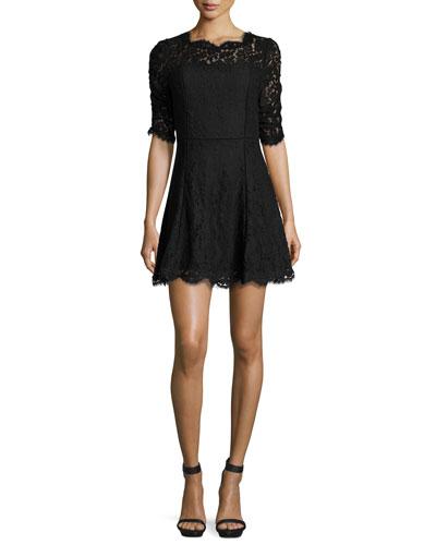 Riya Lace Cocktail Dress, Caviar
