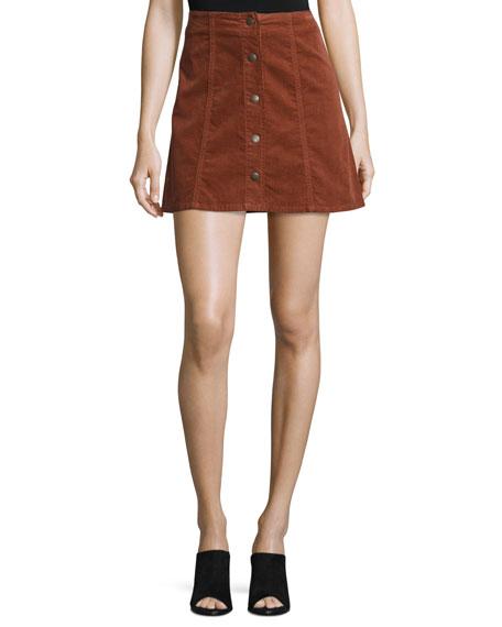 Tilda Corduroy Button-Front Miniskirt