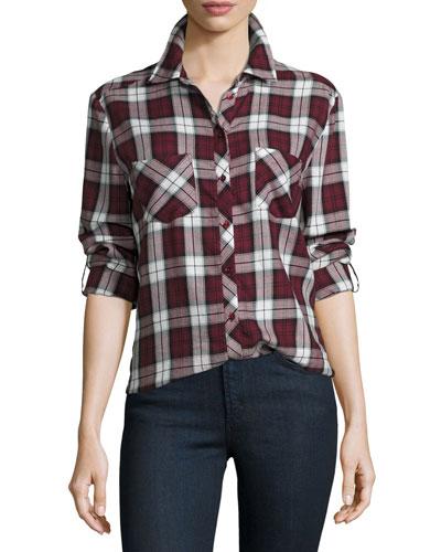 Lilya Long-Sleeve Button-Front Plaid Top, Deep Garnet