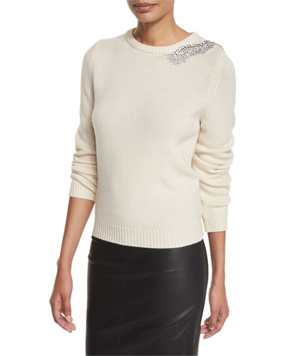 Over Embellished Crewneck Sweater