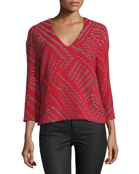Tokyo Mixed-Weave V-Neck Top