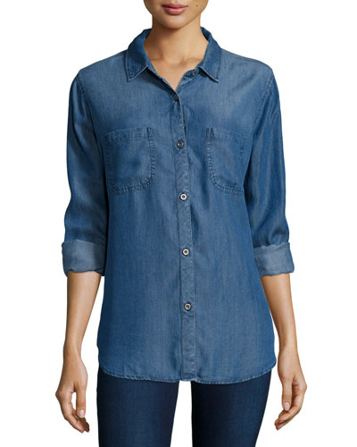 Carter Button-Front Chambray Shirt, Dark Vintage