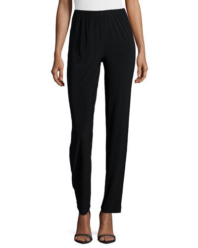 Satin-Back Crepe Slim Pants, Black