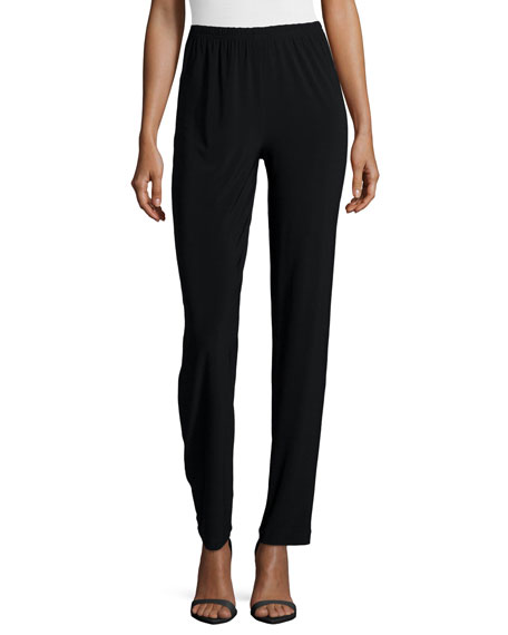 Caroline Rose Satin-Back Crepe Slim Pants, Black