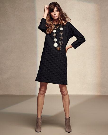 Petite 3/4-Sleeve Textured Dot Dress