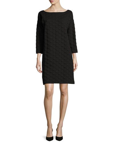 3/4-Sleeve Textured Dot Dress, Petite