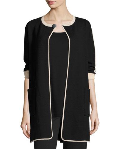 Contrast-Trim 3/4-Sleeve Long Jacket, Black/Multi