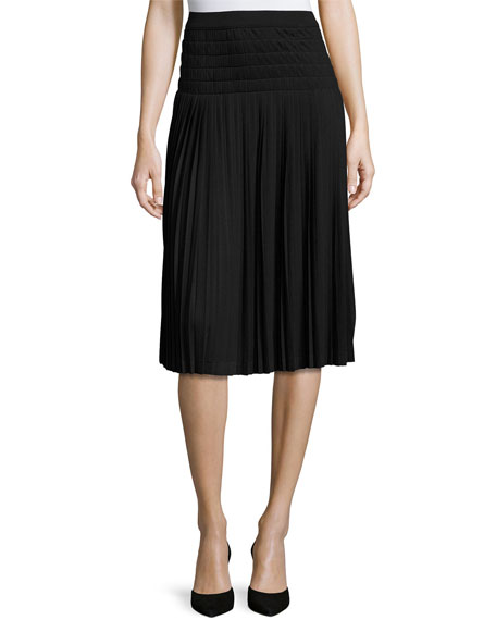 Joan Vass Pleated Knee-Length Skirt