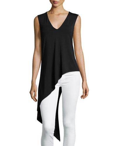 Sleeveless Asymmetric V-Neck Top, Black