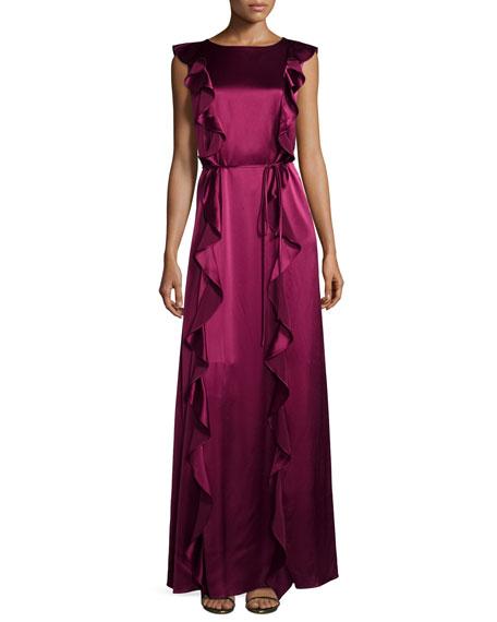 ZAC Zac Posen Sleeveless Satin Ruffle Gown, Wineberry