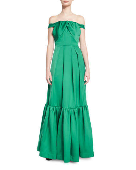 ZAC Zac Posen Off-the-Shoulder Satin & Crepe Gown,