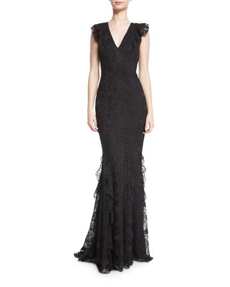 Sleeveless Lace Ruffle-Trim Mermaid Gown, Black
