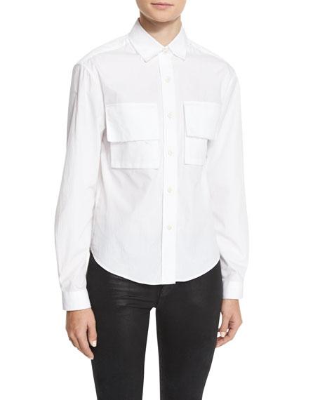 Public School Amber Cotton Poplin Shirt, White