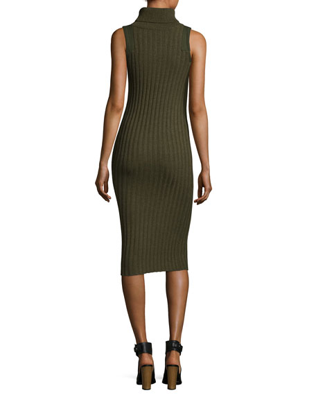 Sleeves Ribbed Wool-Blend Midi Dress, Army Green