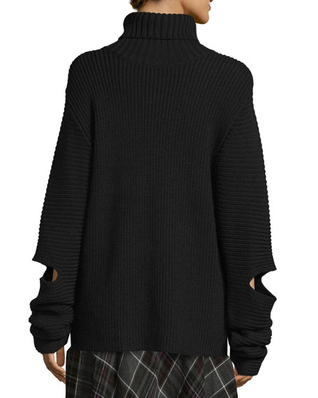 Cutout Oversized Ribbed Sweater, Black