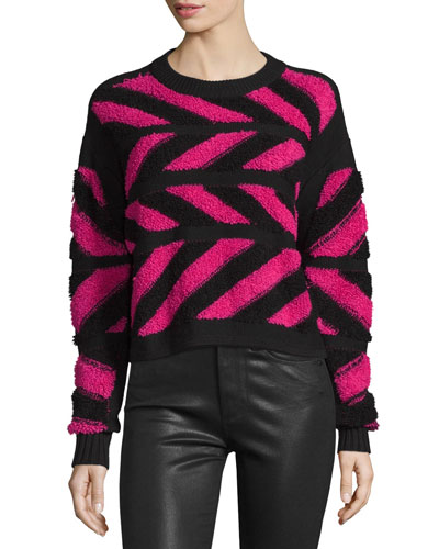 Inlay Cross-Knit Pullover Sweater, Pink