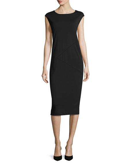 Joan Vass Cap-Sleeve Ponte Knee-Length Dress, Black, Plus