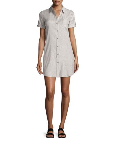 Mayvine Tierra-Wash Shirtdress, Gray/White