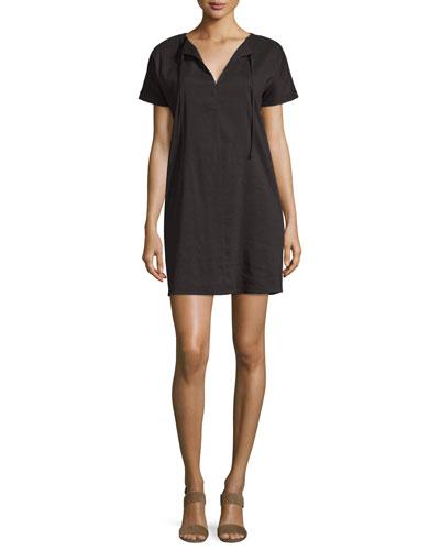 Alisia Crunch-Wash Shift Dress, Black
