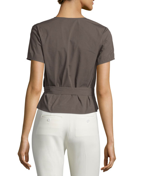 Analice Light Poplin Wrap Top, Taupe Khaki