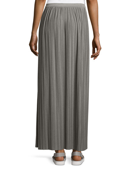 Osnyo Drapey Tee Pleated Maxi Skirt, New Gray Melange