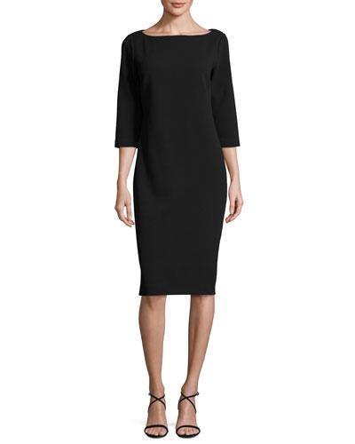3/4-Sleeve Textured Slim Dress, Black