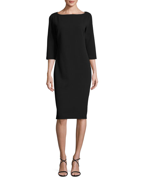 3/4-Sleeve Textured Slim Dress, Black