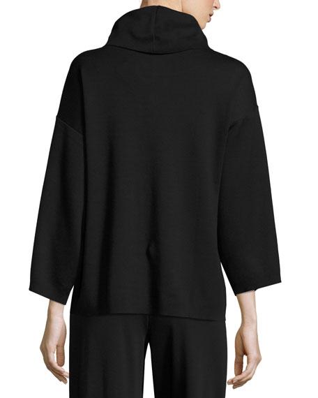 Cowl-Neck Boxy Cotton Top, Plus Size