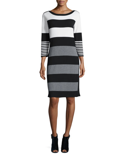 Multi-Stripe 3/4-Sleeve Sweaterdress, Ivory/Gray/Black