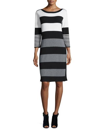Multi-Stripe 3/4-Sleeve Sweaterdress, Ivory/Gray/Black