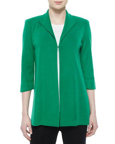 3/4-Sleeve Wing-Collar Jacket, Green