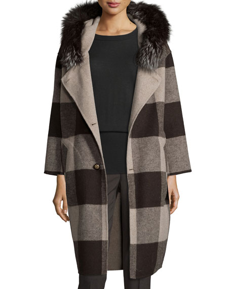 Belle Fare Felt Check Wool-Blend Coat, Oatmeal
