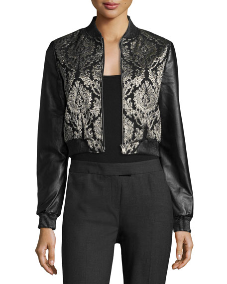 LaMarque Redell Metallic-Embroidered Leather Bomber Jacket