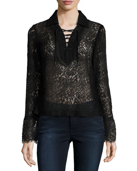LaMarque Challie Lace-Up Suede-Trim Top