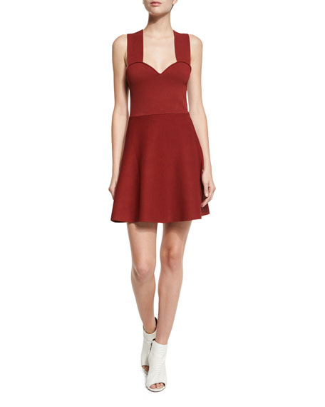 A.L.C. Rada Sleeveless Fit-and-Flare Jersey Dress, Copper