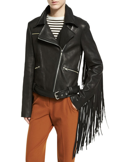 Charles Fringe Leather Moto Jacket, Black