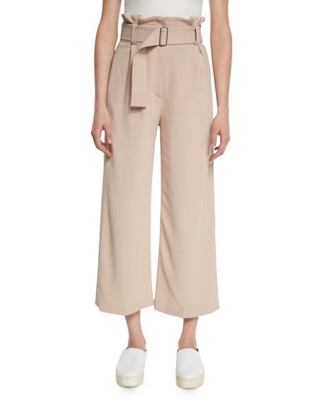 Dillon Belted Paperbag-Waist Gaucho Pants, Whisper