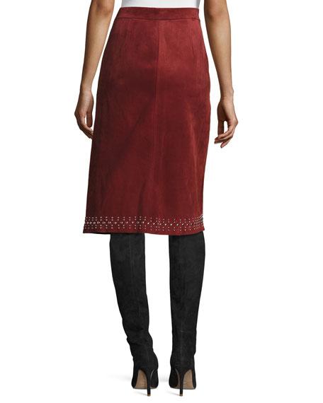 Aimee Studded Suede Skirt, Bordeaux