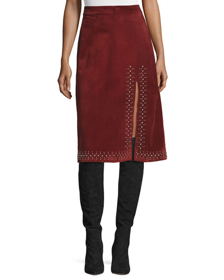 A.L.C. Aimee Studded Suede Skirt, Bordeaux