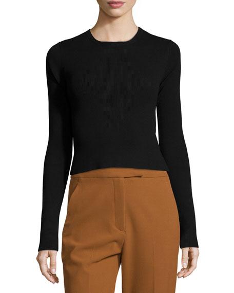 A.L.C. Chance Ribbed Cutaway-Back Sweater, Black