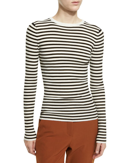A.L.C. Harmon Ribbed Striped Wool-Blend Sweater, White/Black