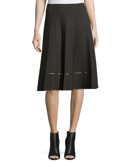 Nicole Pleated A-Line Skirt, Moss