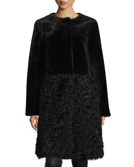 Long Merino & Kalgan Shearling Fur Stroller Coat, Black