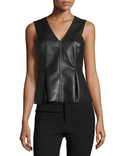 Faux-Leather Shell, Black