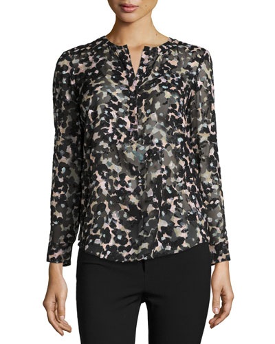 Oleander Printed Silk Top