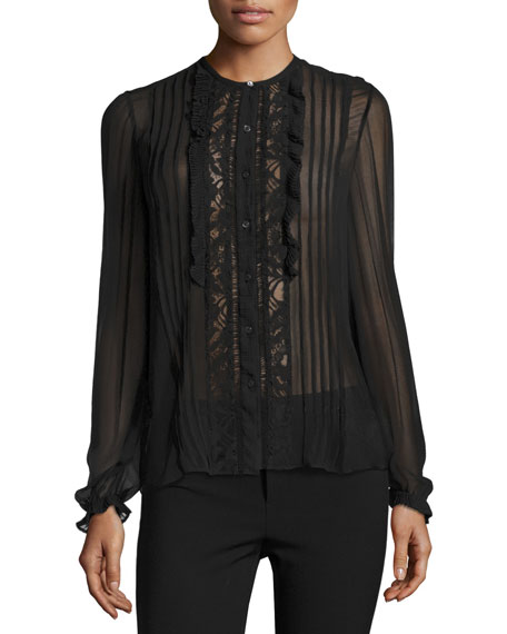 Lace-Trim Chiffon Shirt, Black